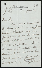Letter from J. Bryce to Sir Lintorn Simmons, June 16, 1877