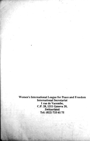 Report of the Twenty-Fourth Congress of the Women's International League for Peace and Freedom: Women Building a Common and Secure Future, Sydney, Australia, 14-25 July 1989