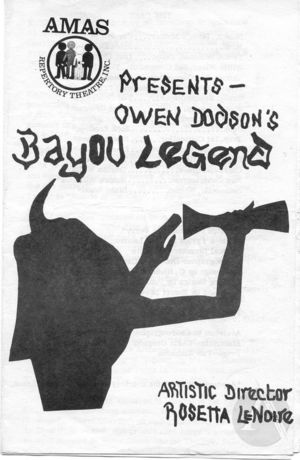 Playbill for <i>Bayou Legend</i> by Owen Dodson, directed by Shauneille Perry at the AMAS Repertory Theatre, New York, 1970s