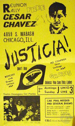 Flyer for a Farmworkers Rally with Teatro Desengano del Pueblo.