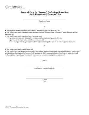 Approval Form for €'Learned'€ Professional Exemption '€œHighly Compensated Employee€' Test