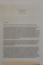 Letter from President Clinton to Charles Robb re: Rwanda