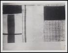 3 textile pieces, 1 plain with 2 solid colour inserts, 1 striped, 1 woven in square with solid colour insert