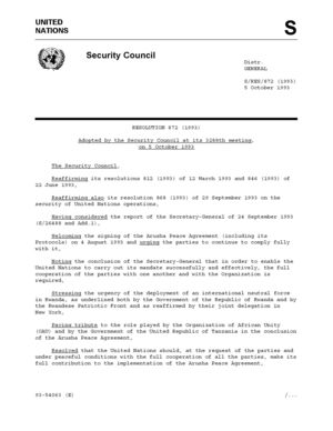 Document 1: United Nations Security Council Resolution, 872 (1993)