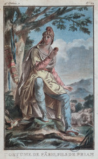 Costume design for Paris as a shepherd on Mount Ida (colour litho)