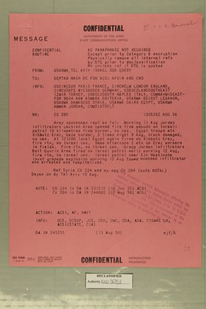 Confidential Message from USARMA Tel Aviv Israel, SGD Query, to DEPTAR Wash DC for ACSI AFOIN and CNO, August 13, 1956