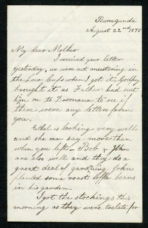 Letter from Edith Anderson to My dear Mother, August 22, 1878