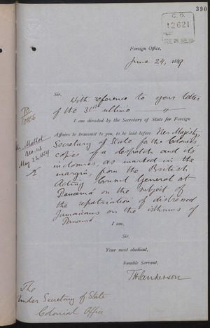 Letter from T. H. Sanderson to Under Secretary of State, Colonial Office, with Enclosed Letter from C. Mallet to Marquis of Salisbury, June 24, 1889
