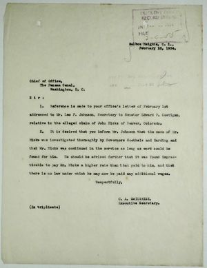 Letter from C. A. McIlvaine to Chief of Office, February 10, 1934