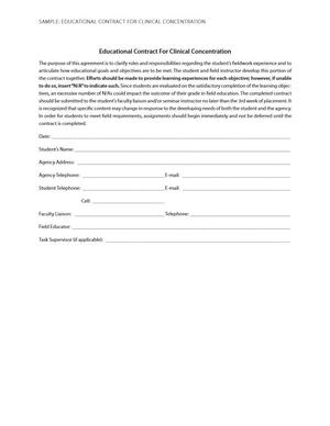 Sample: Educational Contract for Clinical Concentration