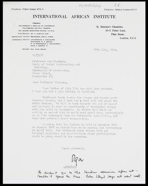 Letter from Mrs Olga Wolfe, Secretary, IAI, to MG, 29 July 1964