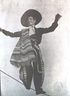 Photograph of the Charro on the Slack Wire Act of the Carpa García.