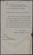 Copy of Memo from the Secretary to the Government of India to the Political Officer in Sikkim re:No Artillery Supplies from India, May 1918