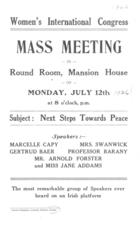 Advertisement of Meeting in Dublin. International Congress of Women. 1926