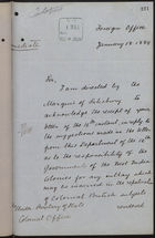 Letter from T. V. Lister to Under Secretary of State, Colonial Office, re: Funds for Repatriation of West Indian Workers, January 18, 1889