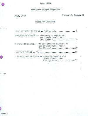 Vice Versa, Volume I, Number 2, July 1947