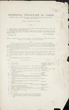Aboriginal Vocabulary of Saibai [Enclosure to Despatch No. 18 of 1890]