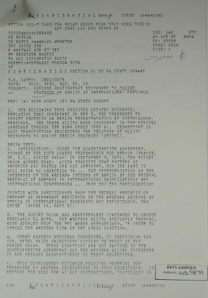 Confidential Memo from Secretary of State Schultz to All Diplomatic Posts re: Revised Contingency Responses to Soviet Protests on Berlin at International-Meetings, April 8, 1987