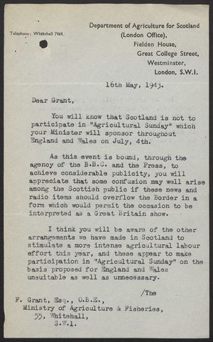 Letter from L.G. Davidson to F. Grant re: Farm Sunday in Scotland, May 16, 1943