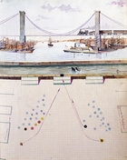 Suez, scene with steamships, set design (1931) for Excelsior Ball, ballet by Luigi Manzotti (1835-1905)