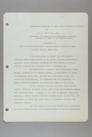 Employment Problems of Older Women Workers in America: Presented at the Triennial Conference, International Council of Women, Athens, Greece, March 1951