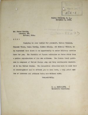Letter from C. A. McIlvaine to Peter Nemetz, November 6, 1925