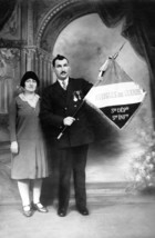 Blind ex-serviceman and his wife, after ww1, c. 1919