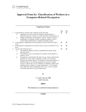Approval Form for Classification of Workers in a Computer-Related Occupation
