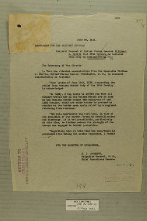 Combined Correspondence Discussing Construction of a Fence Along Mexican Border, June 20 - July 23, 1919