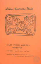 Program for the Latin American Week at the Gary Public Library with the Teatro Desengano del Pueblo, 1974.
