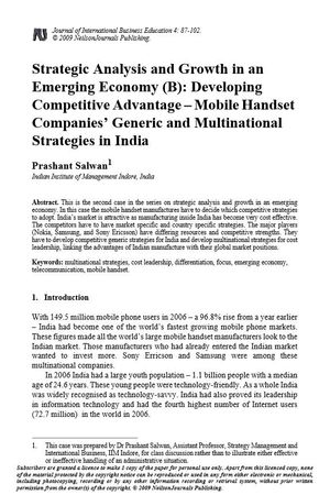 Strategic Analysis and Growth in an Emerging Economy (B): Developing Competitive Advantage – Mobile Handset Companies' Generic and Multinational Strategies in India