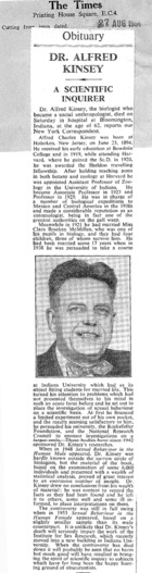 Obituary - Dr. Alfred Kinsey: A Scientific Inquirer