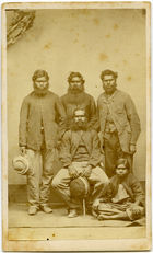 Carte de Visite of Four Aboriginal Men and One Young Girl