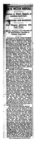 Ida B. Wells Abroad: Lectures in Bristol, England, on American Lynch Law