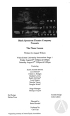 Handbill for The Piano Lesson by August Wilson, produced by the Black Spectrum Theatre Company at the National Black Theater Festival, Wake Forest Proscenium Stage 1, Winston-Salem, NC, August 8-9, 2003