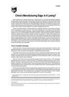 China's Manufacturing Edge: Is it Losing?