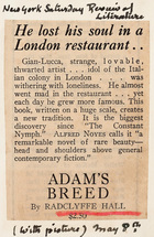 Adam's Breed by Radclyffe Hall: He Lost His Soul in a London Restaurant … (New York Saturday Review of Literature, May 8)