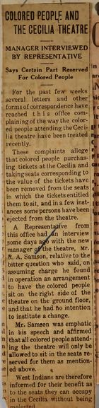 Newspaper Clipping re: Colored People and the Cecilia Theatre, undated