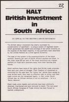 Anti-Apartheid Movement flyer, re: Halt British Investment in South Africa: An Appeal to the British Labour Movement, undated