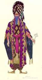 Costume design for a character in 'The Legend of Joseph', 1914 (w/c & gold on paper)