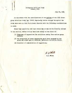 Intergroup Relations Study Summer, 1954