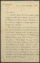 Letter from Philipp Bloch to Markus Brann, November 22, 1895