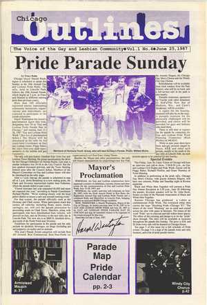 Chicago Outlines The Voice of the Gay and Lesbian Community Vol. 1 No. 4 June 25, 1987