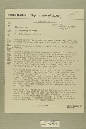 Telegram from William E. Cole, Jr. in Jerusalem to Secretary of State, February 6, 1956