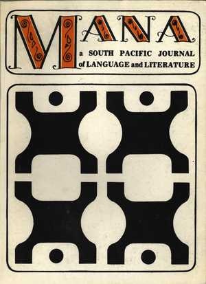 MANA: A South Pacific Journal of Language and Literature, Vol. 8, No. 1