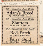 6th, 5th and 2nd Impression Now Ready: Adam's Breed . Shutters / Red Earth and Fairy Gold (T.P's and Cassells, July 17-24)
