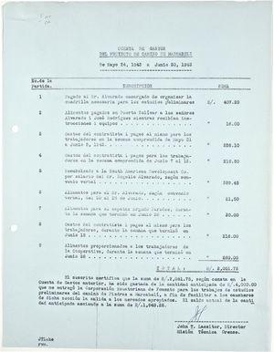Cuenta de Gasto del Proyecto de Camiro de Marcabeli de Mayo 24, 1943 a Junio 30, 1943