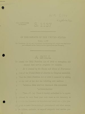 S. 1137: A Bill to Amend the Child Nutrition Act of 1966