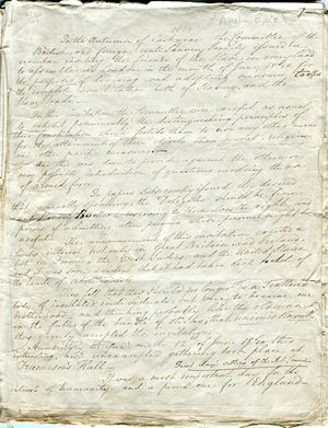 Journal of First Day of the World's Anti-Slavery Convention