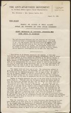 Press release from Anti-Apartheid Movement, re: Dramatic new evidence of unholy alliance between the Portuguese and South African governments, August 23, 1962